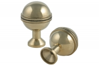 Brass Knob Threaded with Stripe - IBFM