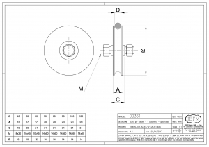 Wheel for Sliding Gates - 1 Ball Bearing - Semi-Round Groove - IBFM