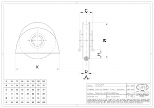 Wheel with Plate - 1 Ball Bearing - Round Groove - IBFM