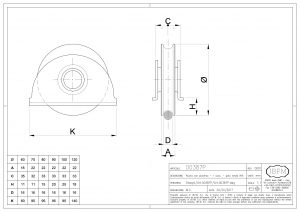 Wheel with Plate - 1 Ball Bearing - Round Groove Ø 16 - IBFM