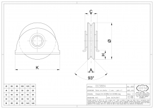 Wheel with Plate - 2 Ball Bearing - V Groove - IBFM