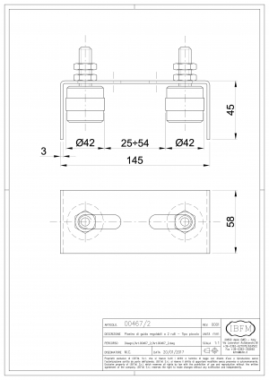 Adjustable 2 Guides Plate for Sliding Gate - IBFM