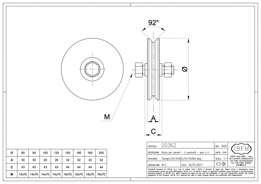 Wheel For Sliding Gate 2 Ball Bearing Groove V Art 362